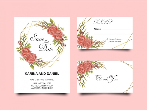 Red floral wedding invitation template | Premium Vector