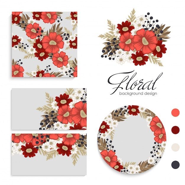 Red flower background  red and white flowers cards, pattern, wreath Free Vector