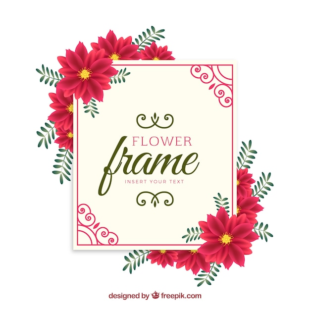 red flower frame background vector free download