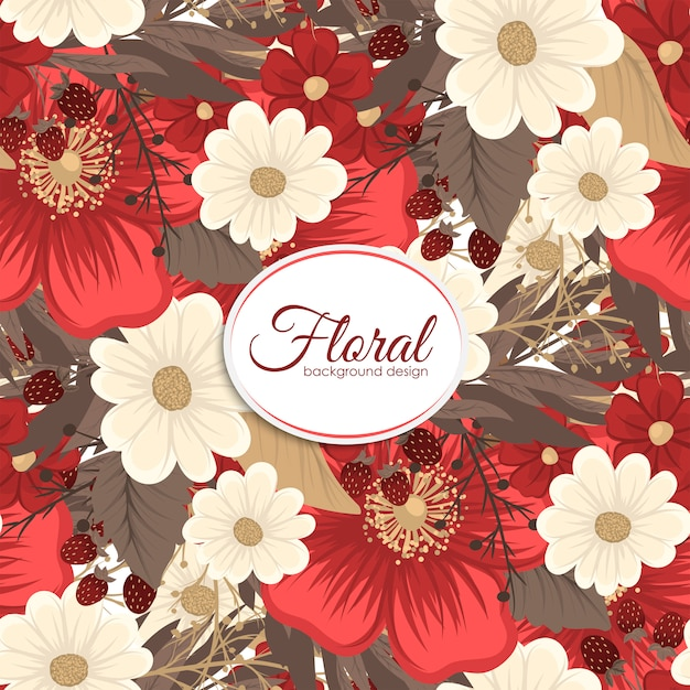 Red flower seamless background Free Vector