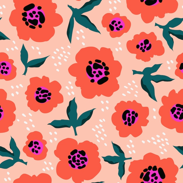 Premium Vector Red Flowers Abstract Pattern Trendy Hand Drawn Floral Pattern Seamless Texture For Web Textile And Stationery Modern Vibrant Abstract Florals And Leaves