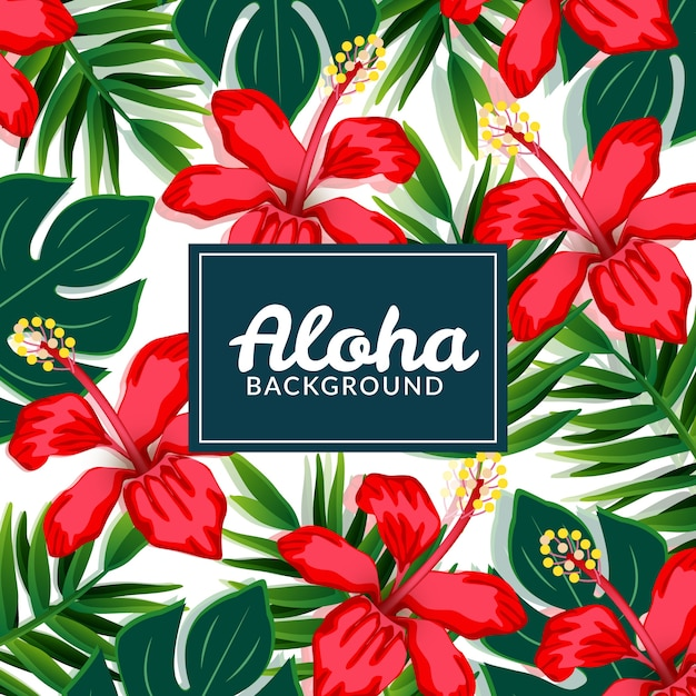 red flowers aloha background vector free download
