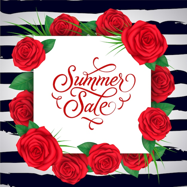 Red flowers summer sale background