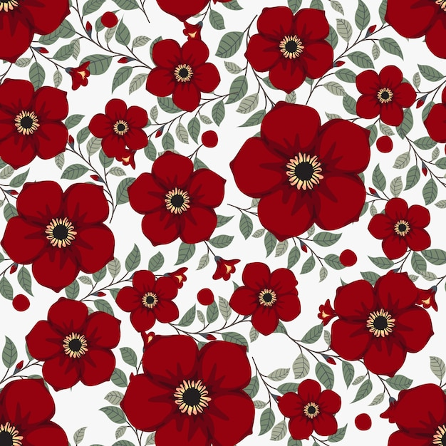 Red flowers wreath ivy style with branch and leaves, seamless pattern Premium Vector