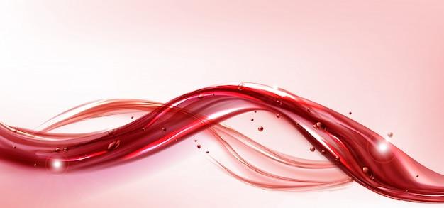 붉은 흐르는 액체 스플래시 현실적인 주스 또는 와인 무료 벡터