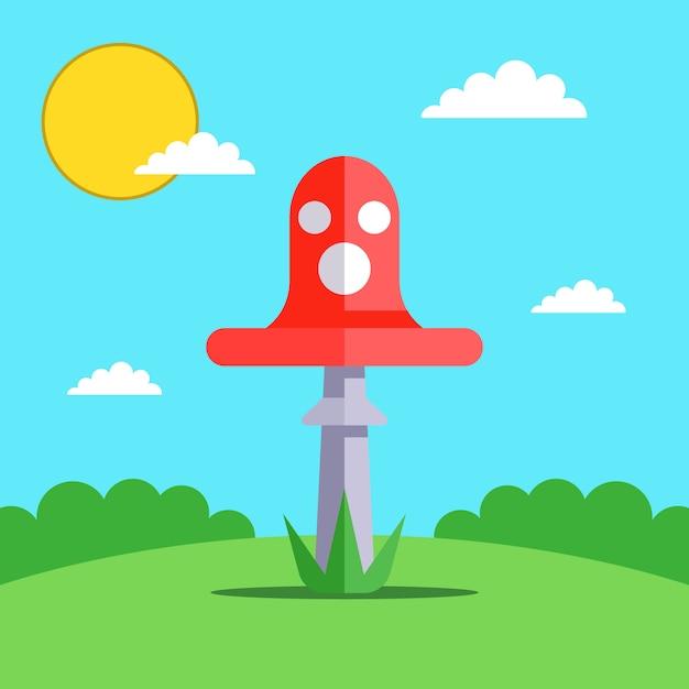 Красный мухомор на лесной поляне. плоская иллюстрация. Premium векторы