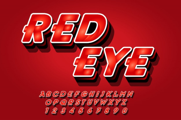 Red font effects style in 3d Premium Vector