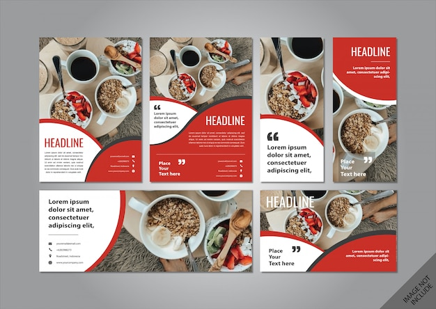 Red food theme layout pack Premium Vector