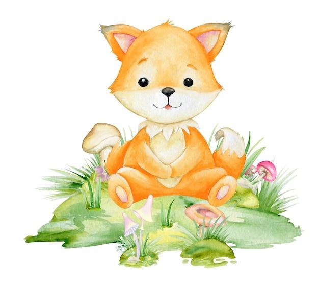 Рыжая лисица, милое животное в мультяшном стиле. акварельный клипарт лесного животного на изолированном фоне. Premium векторы