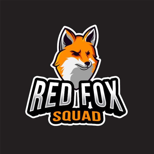 Шаблон логотипа red fox squad Premium векторы