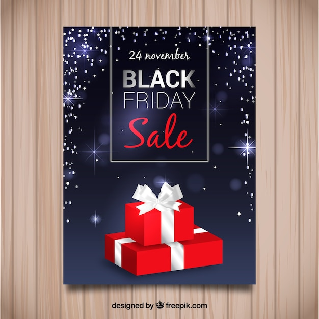 Red friday black friday gift brochure Free Vector