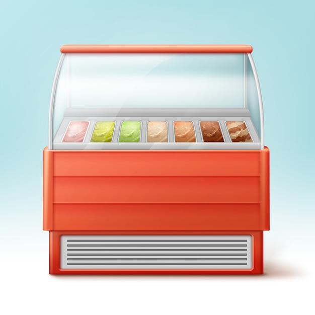 Красный холодильник для мороженого с множеством изолированных вкусов Бесплатные векторы