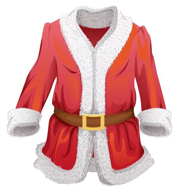サンタクロースの赤い毛皮のコート。白い漫画イラストを分離 Premiumベクター