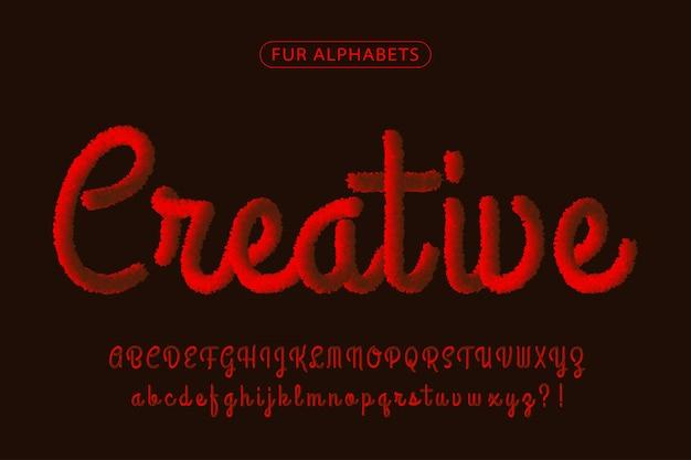 Красный мех реалистичный фирменный шрифт алфавитов Premium векторы