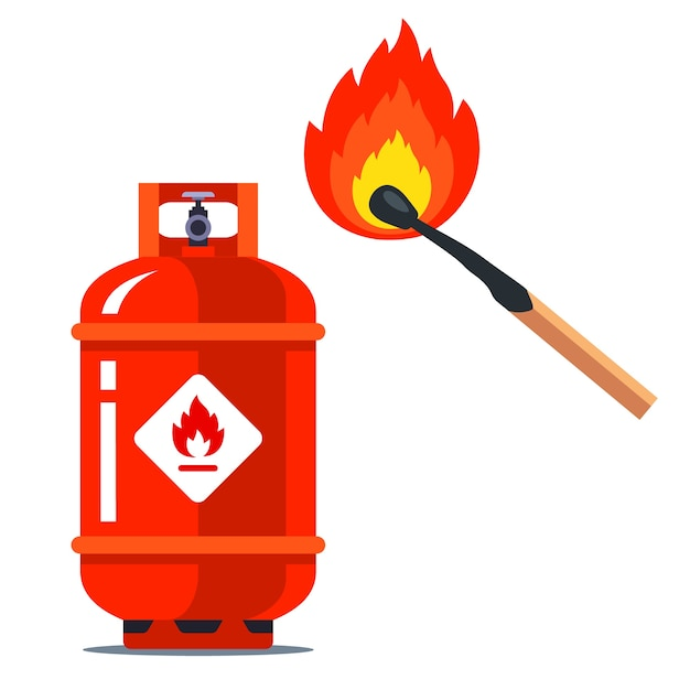 A red gas can next to a burning match. flammable situation.   illustration  on white background. Premium Vector