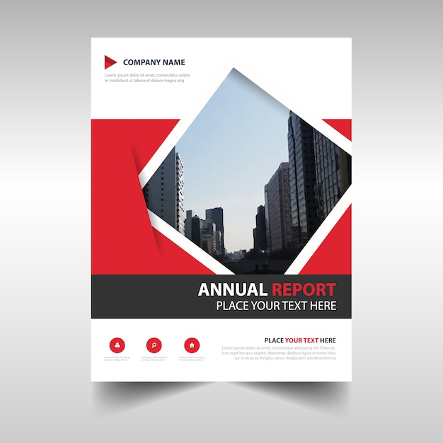Book Cover Graphic Design Software : Red geometric abstract annual report template vector