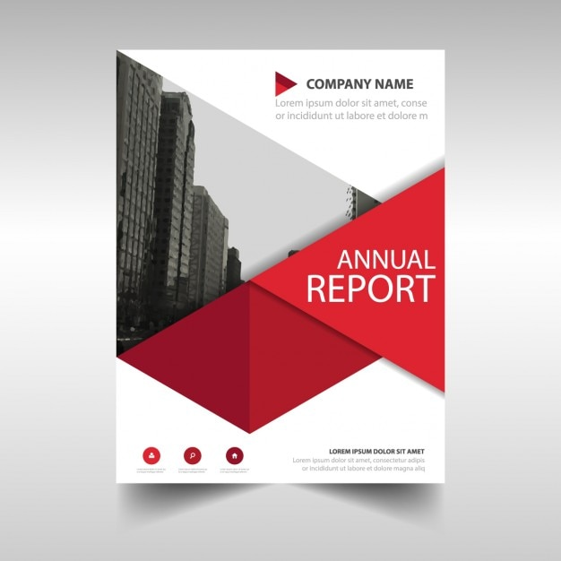 Perfect Red Geometric Annual Report Template Free Vector Intended Annual Report Template Design