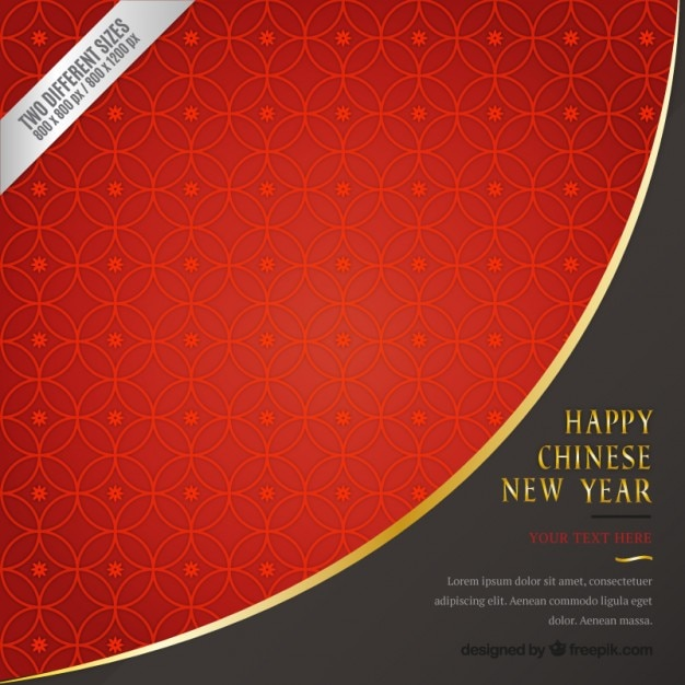 Red Geometric Chinese New Year Background Free Vector