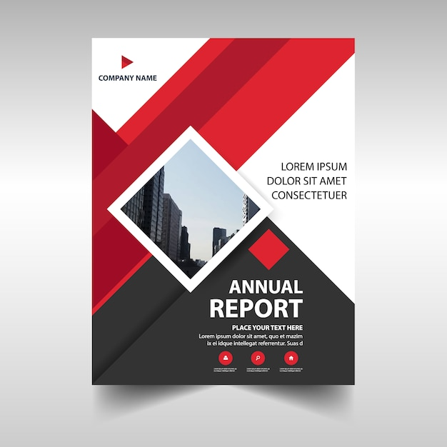 Red Geometric Corporate Annual Report Template Vector  Free Download