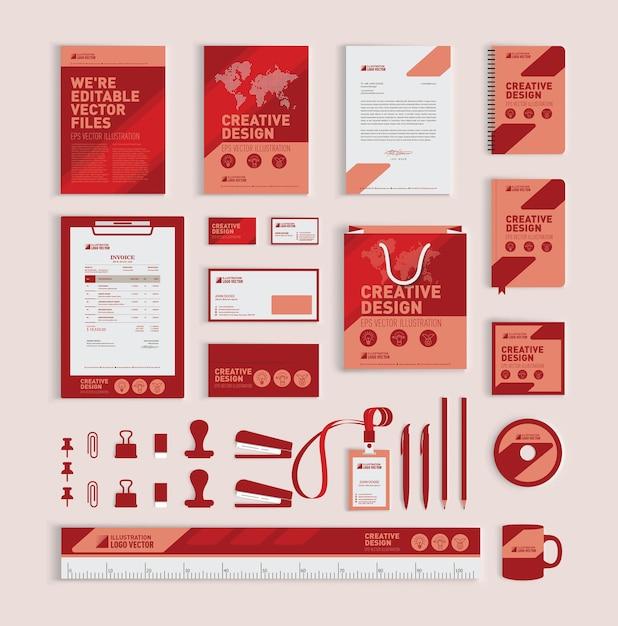 赤い幾何学的なコーポレートアイデンティティデザインテンプレート Premiumベクター