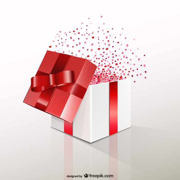 Red gift box with confetti vector free download red gift box with confetti free vector negle Choice Image