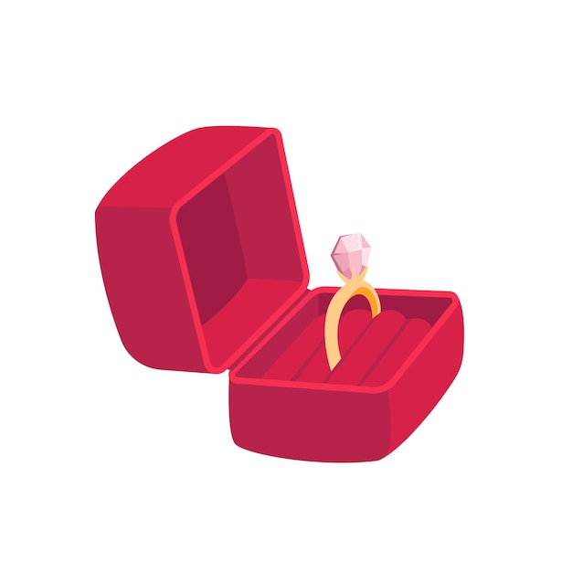 Red gift box with ring. woman gift for the holiday. isolated on white background. Premium Vector