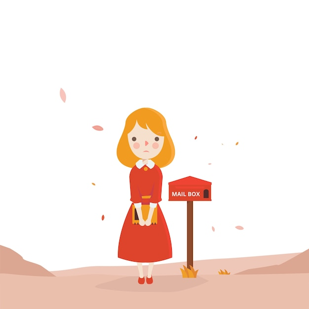 Waiting For Mail >> Red Girl Waiting Mail Vector Premium Download