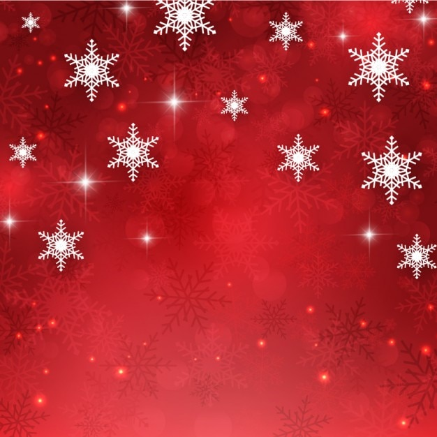 Red glitter background with snowflakes Free Vector