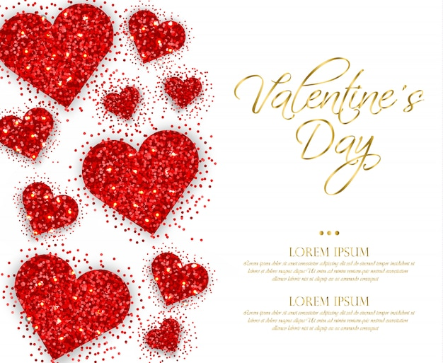 Red glitter hearts valentine day Premium Vector