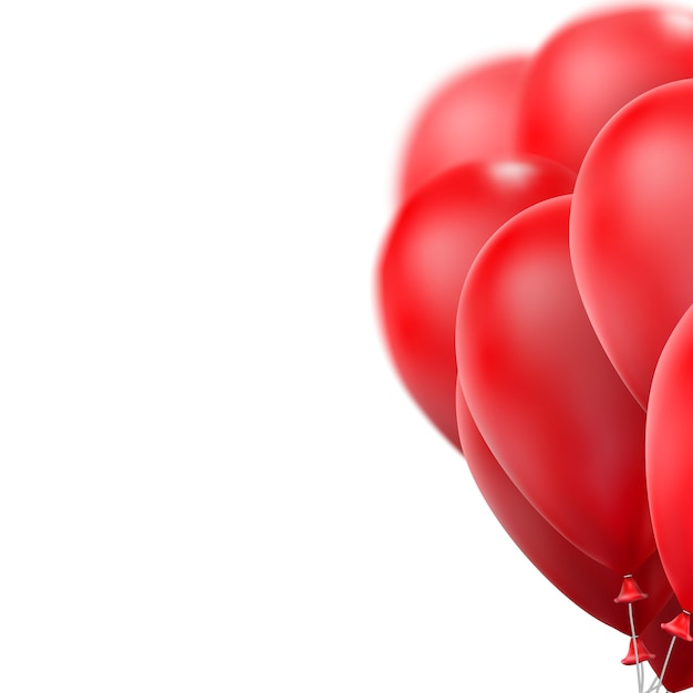 Red glossy balloons. Premium Vector