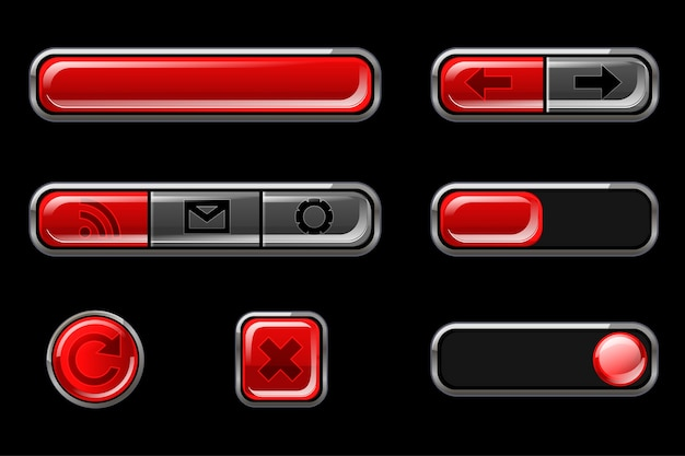 Красные глянцевые кнопки с возвратом Бесплатные векторы