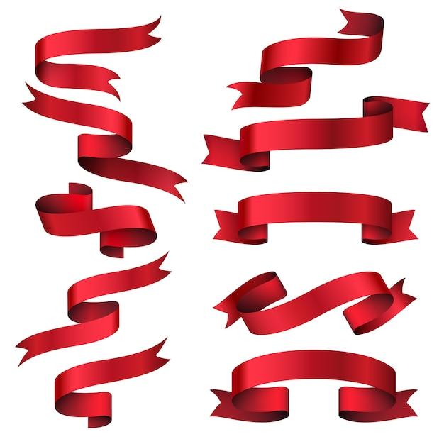 Set di banner nastro rosso lucido. striscia di oggetti da collezione, etichetta classica cornice, illustrazione vettoriale Vettore gratuito