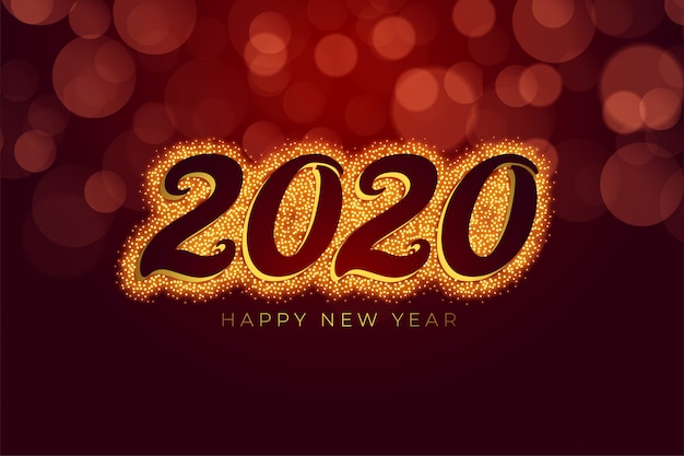 Red and gold happy new year sparkle Free Vector