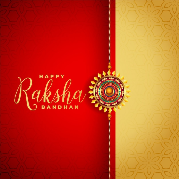 Red and gold raksha bandhan festival greeting background Free Vector