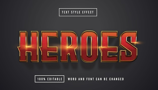 Red gold text effect editable Premium Vector