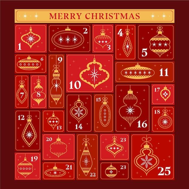 Red and golden advent calendar Premium Vector