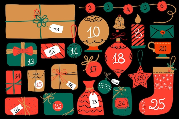 Red and golden advent calendar Free Vector