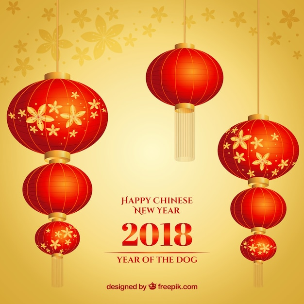 red golden chinese new year background free vector
