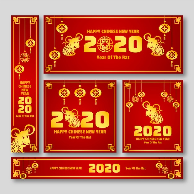 Red & golden chinese new year banners Free Vector