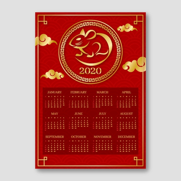 Red & golden chinese new year calendar Free Vector