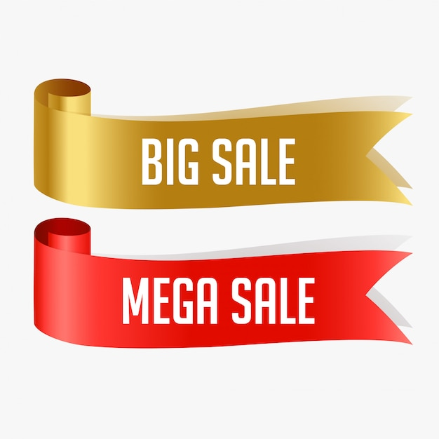 Red and golden sale ribbons Free Vector