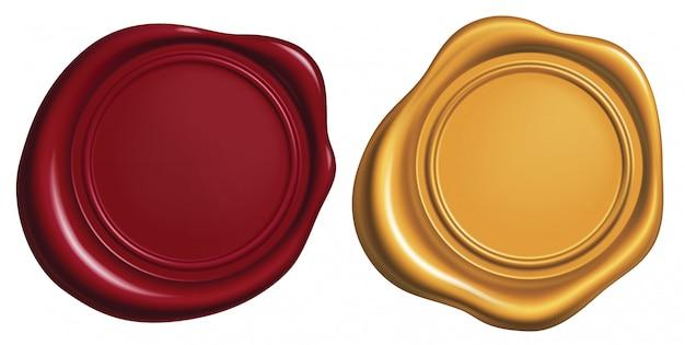 Red and golden wax seal Premium Vector