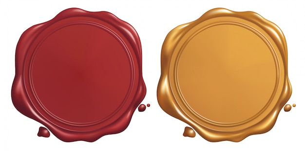 Red and golden wax seal Premium Vector
