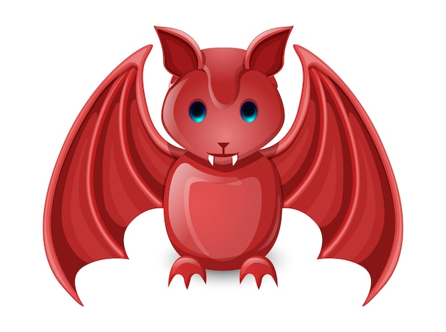 Red good luck bat isolated on white Free Vector