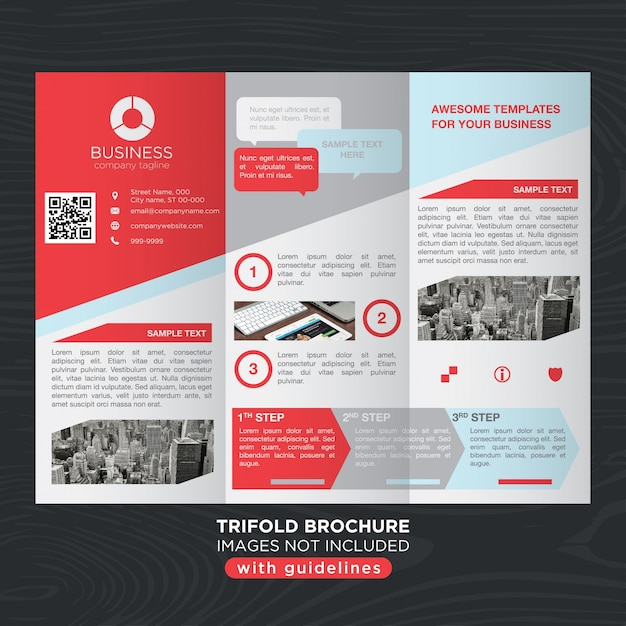 Red gray business trifold brochure layout template Vector ...