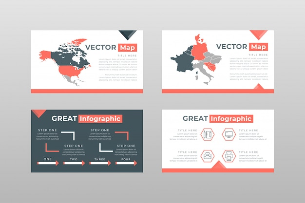 Red gray colored maps concept power point presentation pages template Free Vector
