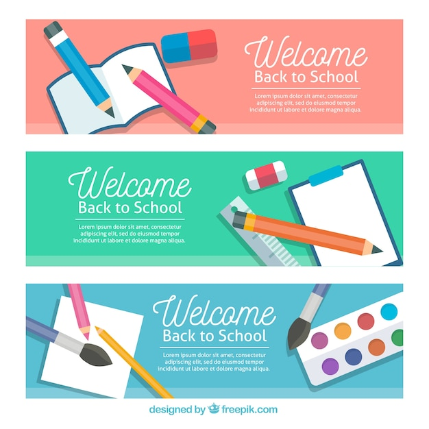 Red, green and blue back to school banners in flat design