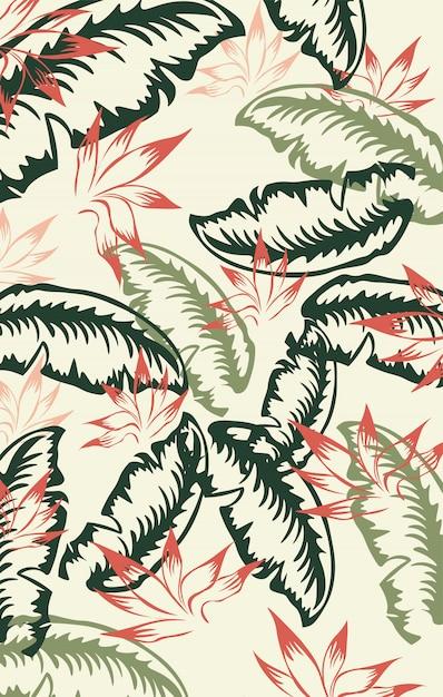 赤、緑、濃い緑のヤシの葉模様。ビンテージ 無料ベクター
