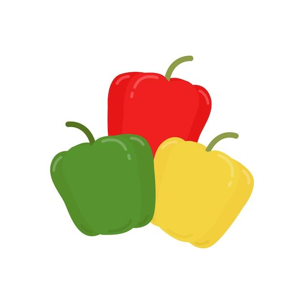 Красный зеленый и желтый перец графическая иллюстрация Бесплатные векторы