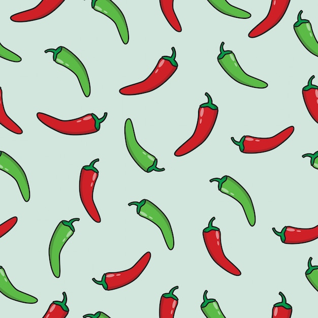 Red and green chili seamless pattern Premium Vector